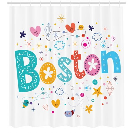 Boston Shower Curtain, Doodle Hand Drawn Icons of Stars Hearts Droplets Diamonds Puffy Clouds and Flowers, Fabric Bathroom Set with Hooks, 69W X 70L Inches, Multicolor, by Ambesonne ()