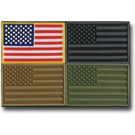 RapDom USA Flag Tactical Mini Rubber H&L Velcro-Back Patch Set [4 Per Set - Pack 1 - 1.5