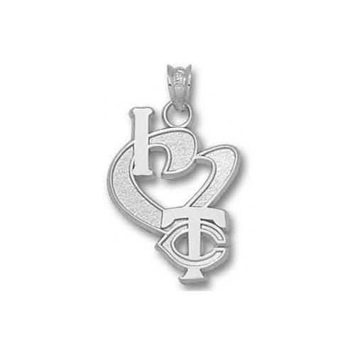 MLB - Minnesota Twins 3/4'' Sterling Silver ''I Heart TC'' Pendant