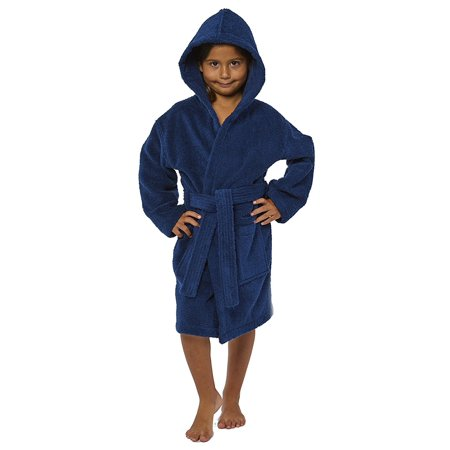TurkishTowels Parador Hooded Terry Boys Bath Robe, 100% Cotton, Made In Turkey (Ages 7-11 L, Navy)