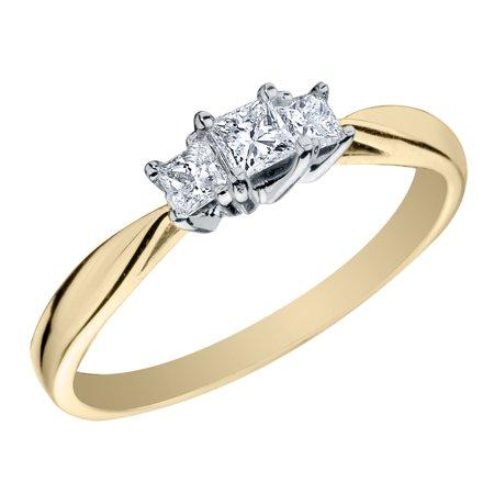 1/4 Carat (ctw H-I, I1-I2) Princess Cut Three Stone Diamond Anniversary Engagement Ring in 14K Yellow Gold - image 2 de 2