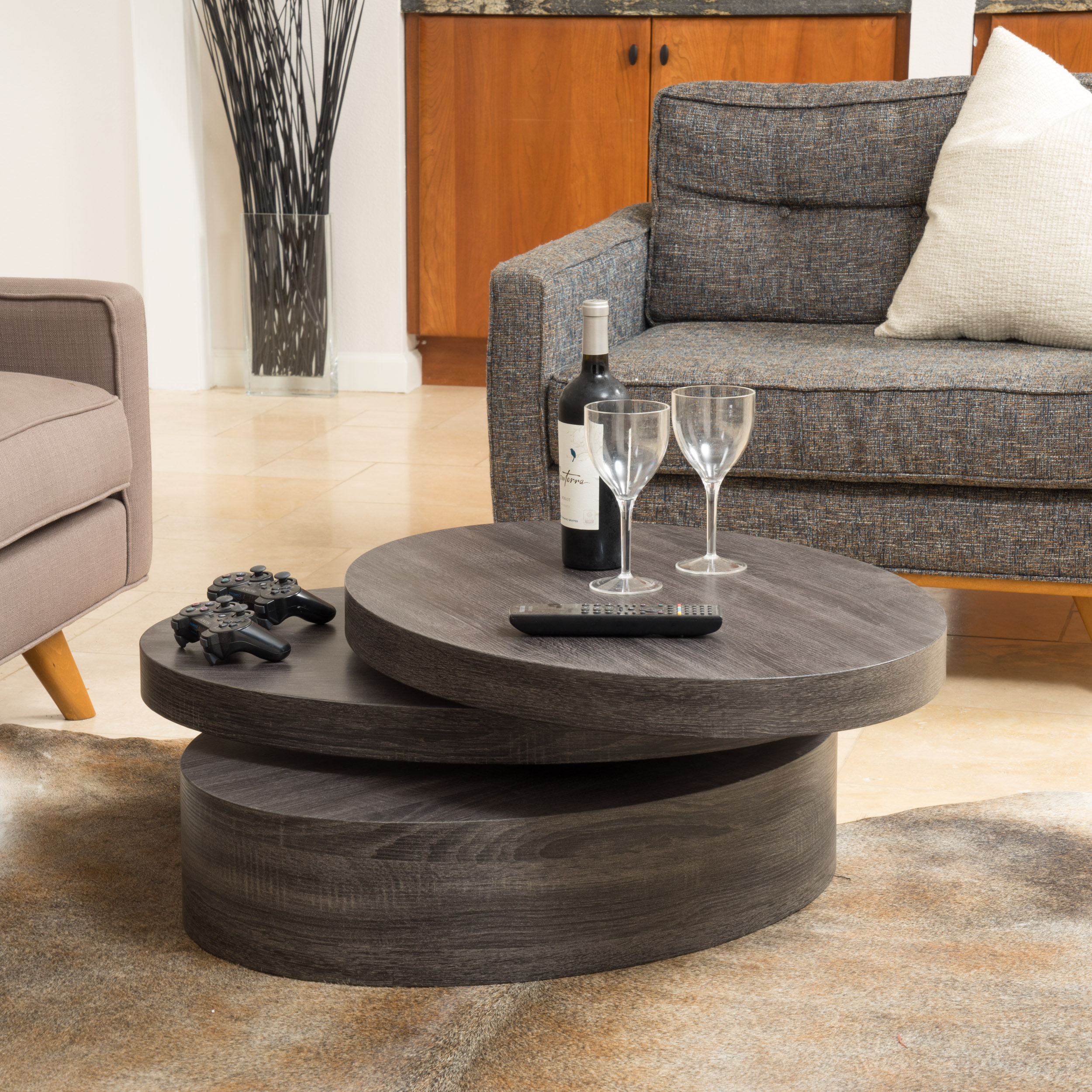Noble House Small Oval Mod Rotating Coffee Table