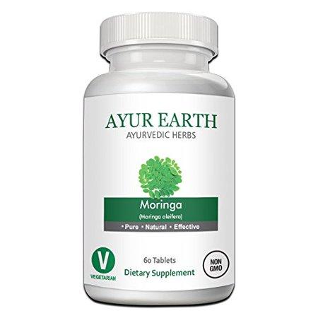 Pure Moringa Oleifera Powder in Vegetarian Capsules - Ayurvedic Green Superfood with Vitamins, Minerals, & Amino Acids - Anti Aging & Energy Boost Supplement - 500mg 30 Day Supply (60 Moringa Pills) ()