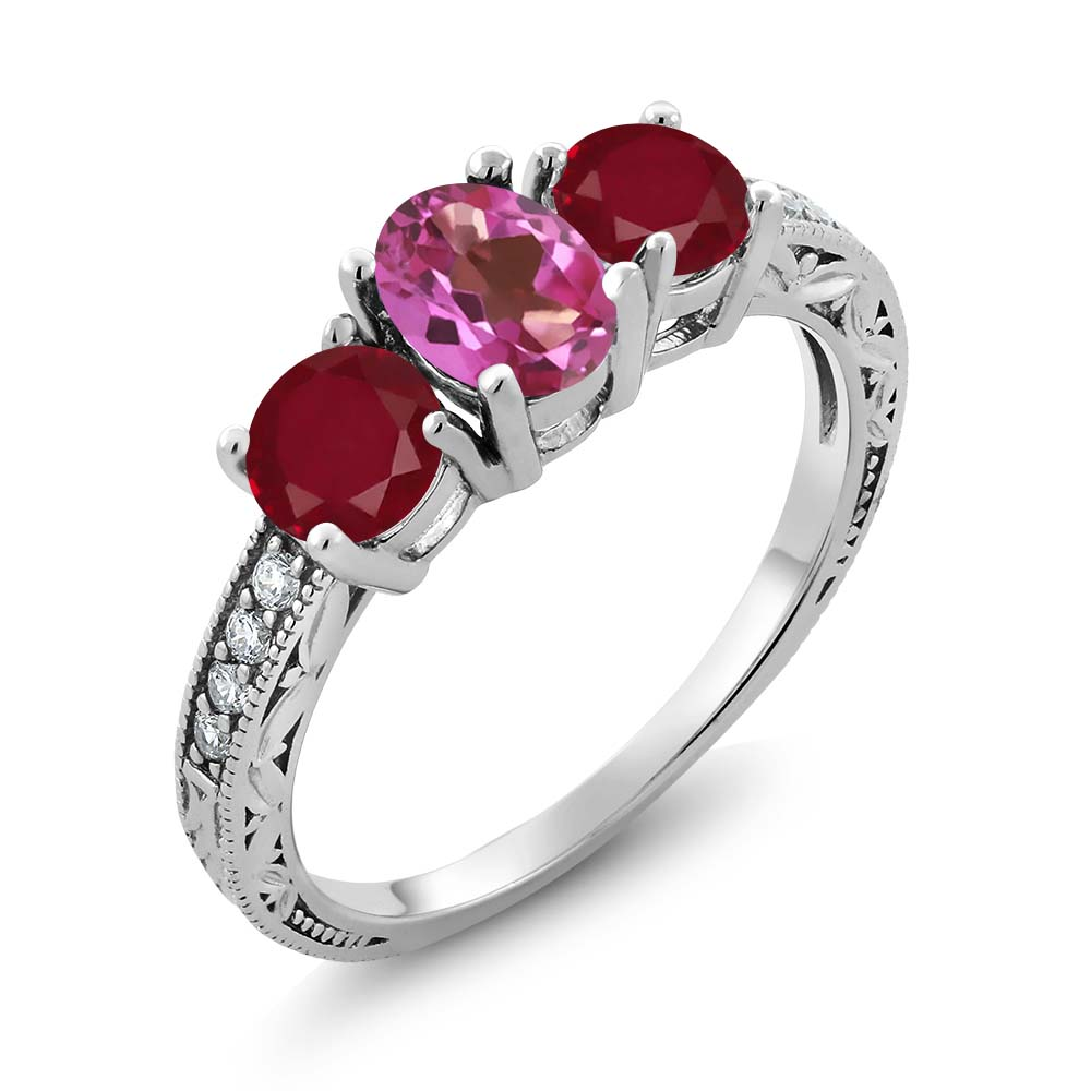2.02 Ct Oval Pink Mystic Topaz Red Ruby 925 Sterling Silver Ring by