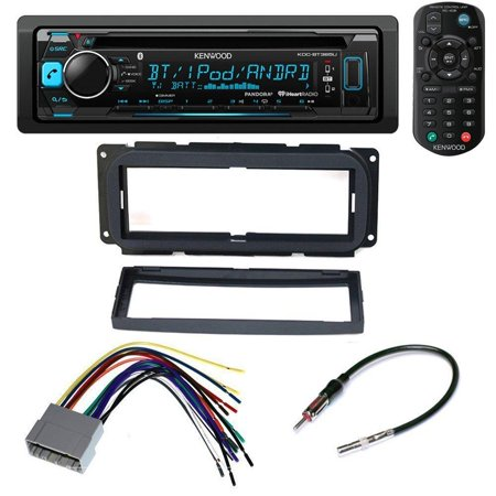 Kenwood Aftermarket Car Radio Receiver Stereo CD Player Dash Install Mounting Kit + Dash Mounting Install KIt + Stereo Wire Harness+ Radio Antenna For Select Chrysler Dodge Jeep