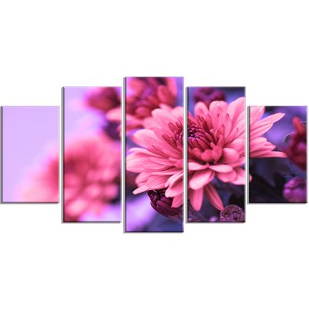 Design Art 'Colorful Autumnal Chrysanthemum' 5 Piece Photographic Print on Wrapped Canvas Set