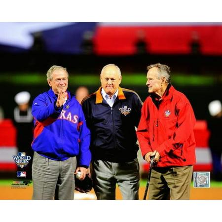 George Hw Bush Nolan Ryan   George W Bush Game Four Of The 2010 Mlb World Series Photo Print