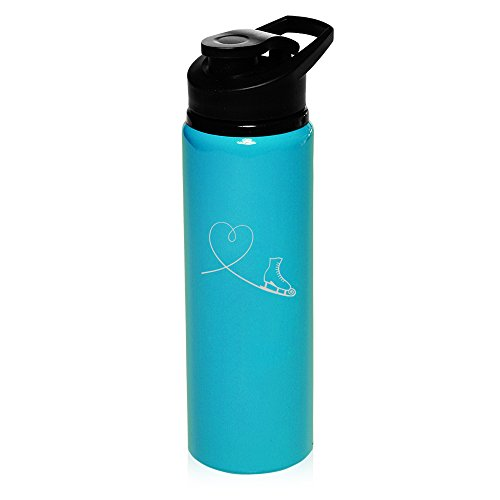 25 oz Aluminum Sports Water Travel Bottle Heart Love Ice Skating (Light-Blue) by