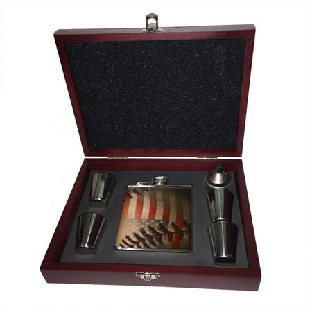 Leather Baseball Stitch - KuzmarK 6 oz. Leather Flask Set in Rose Wood Presentation Box -  American Flag Baseball Stitch