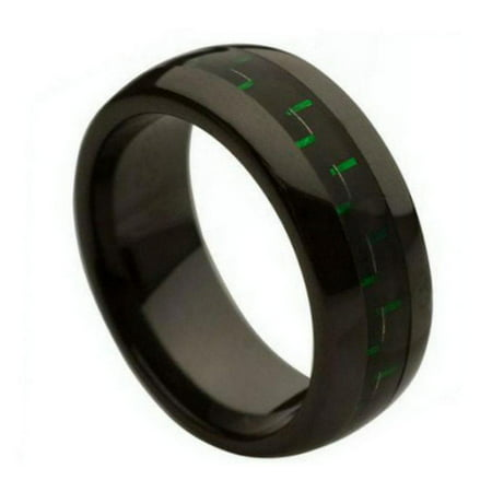 8Mm   For Men Or Ladies Black With Green   Black Carbon Fiber Inlay Ceramic Wedding Band Ring