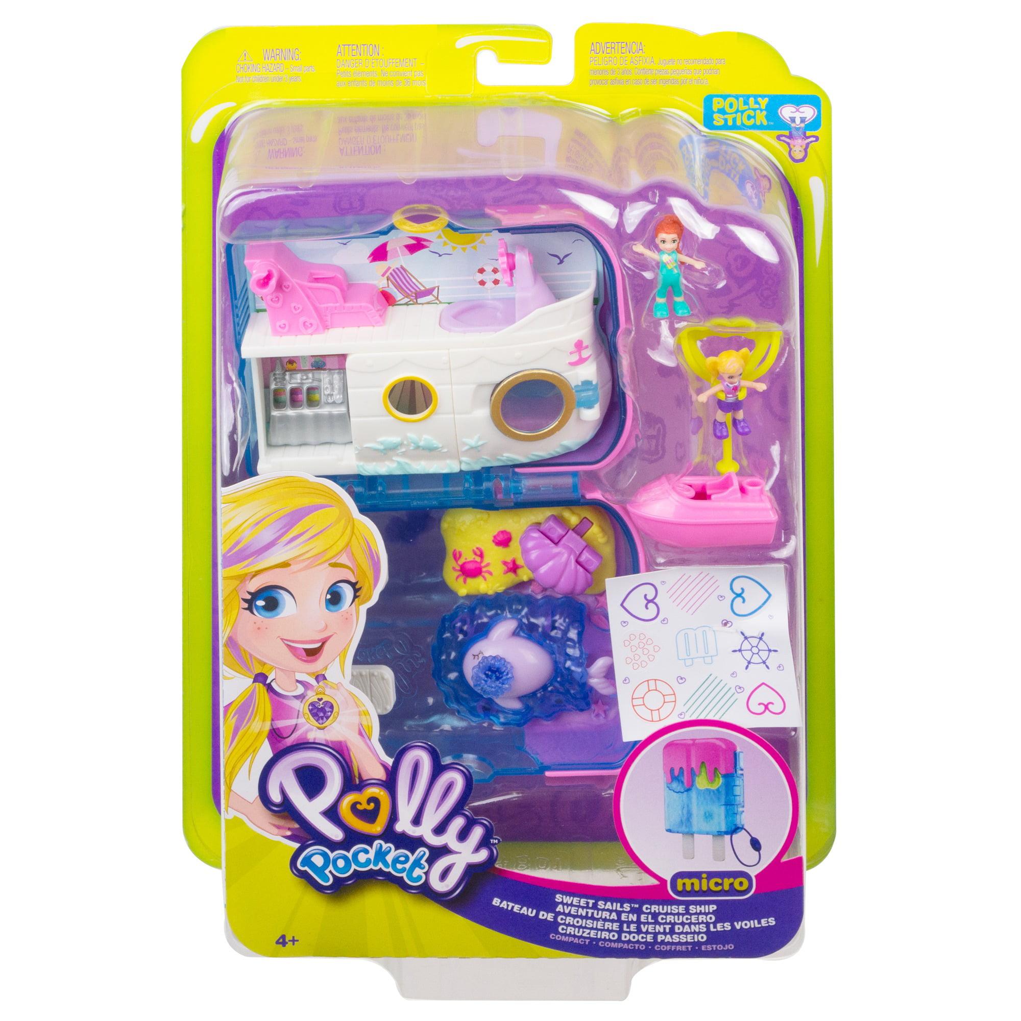 NEW 2 Micro Dolls Polly Pocket Pocket World Sweet Sails Cruise Ship Compact