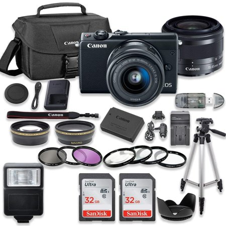 Canon EOS M100 Mirrorless Digital Camera (Black) Bundle with Canon EF-M 15-45mm f/3.5-6.3 IS STM Lens + 2pc SanDisk 32GB Memory Cards + Accessory (Canon Sm V1 5-1 Channel Surround Microphone)