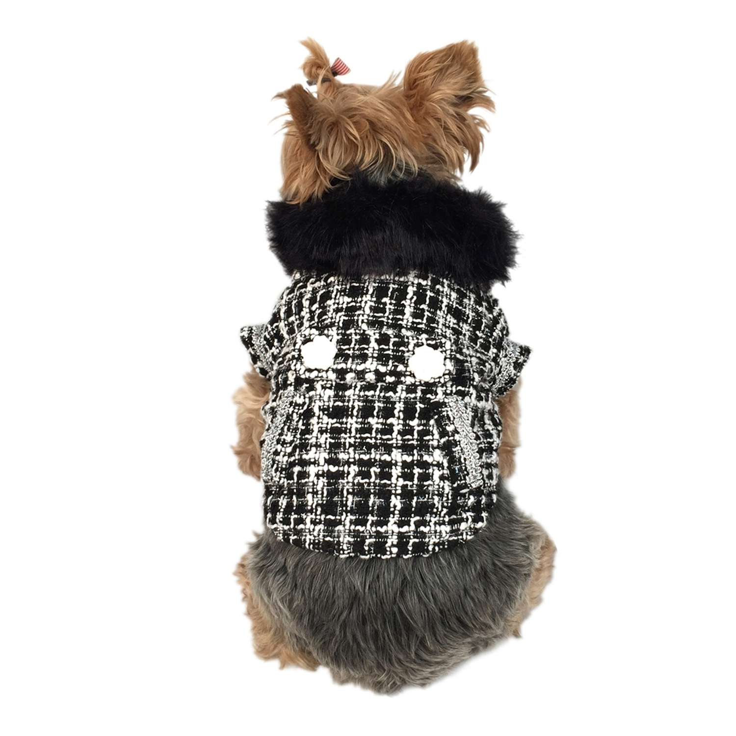 Black/White Faux Fur Collared Fashion Trench Coat Warm Winter Apparel for Puppy Dog Clothing Clothes - Small (Gift for Pet)