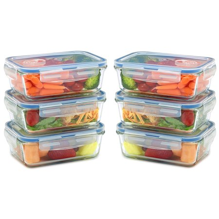 6 pack Glass Meal Prep Containers for Food Storage w/ Snap Locking Lids Airtight & Leak Proof - BPA Free - Oven, Dishwasher, Microwave, Freezer Safe - Odor and Stain Resistant USDA Food Grade