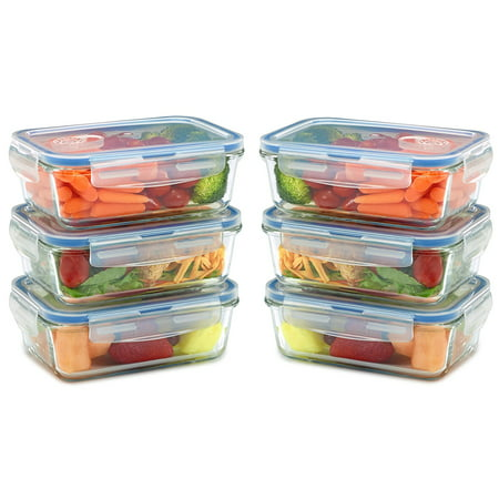 6 pack Glass Meal Prep Containers for Food Storage w/ Snap Locking Lids Airtight & Leak Proof - BPA Free - Oven, Dishwasher, Microwave, Freezer Safe - Odor and Stain (Best Glass Storage Containers)