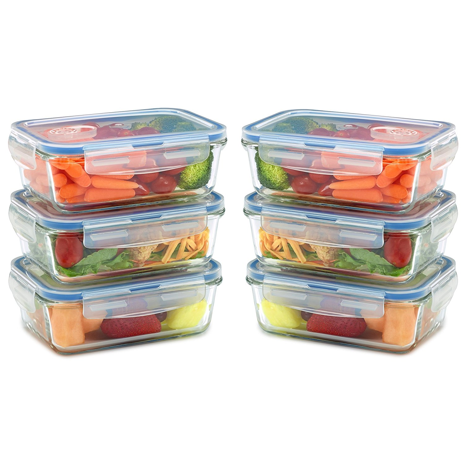 6 Pack - Glass Meal Prep Containers for Food Storage w/ Snap Locking Lids Airtight & Leak Proof - BPA Free - Oven, Dishwasher, Microwave, Freezer Safe - Odor and Stain Resistant USDA Food Grade Glass
