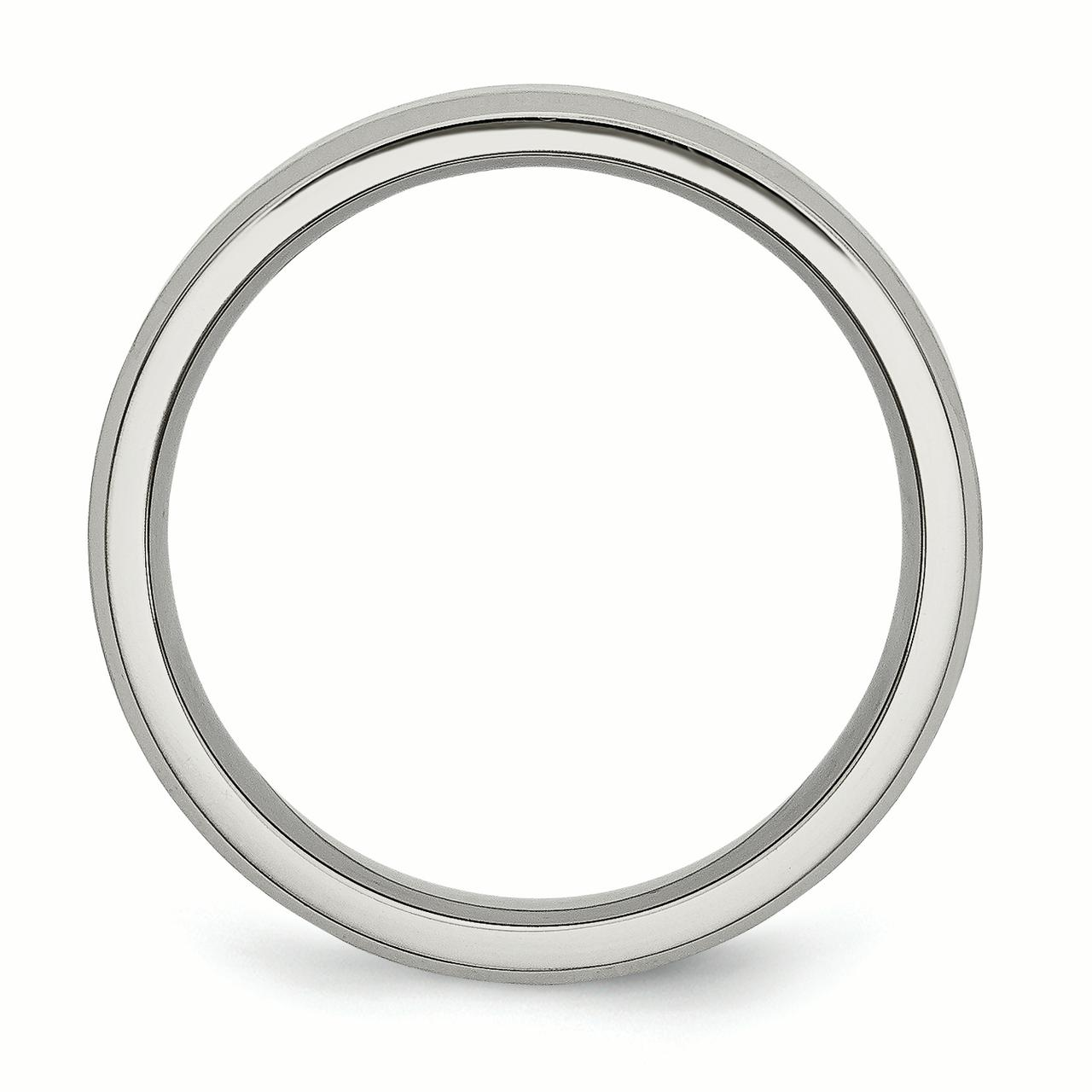Titanium Beveled Edge 6mm Brushed Wedding Ring Band Size 13.50 Classic Flat W/edge Fashion Jewelry Gifts For Women For Her - image 5 of 7