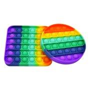 Rainbow Sensory Circle Square Pop Fidget Toy 2-Pack   Square Sensory Toys   Bubble Popping Sensory Toy   Stimulating Fidget Pop Pack - Fun for All Ages