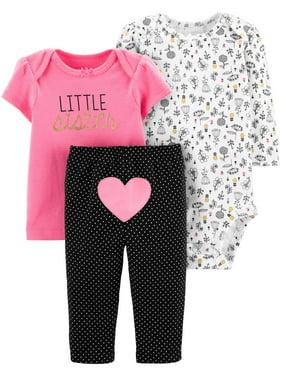 26e93e22 Product Image Child Of Mine By Carter's Long Sleeve Bodysuit, T-Shirt &  Pants, 3pc