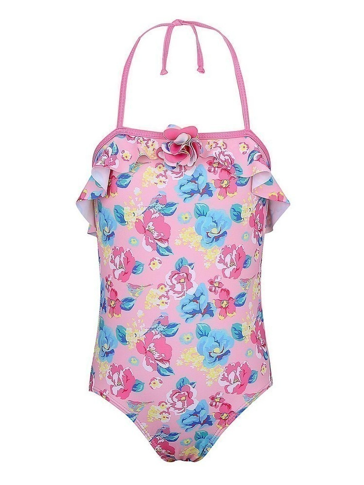 Sun Emporium Little Girls Pink Blue Blossom Vintage Cut Out Swimsuit