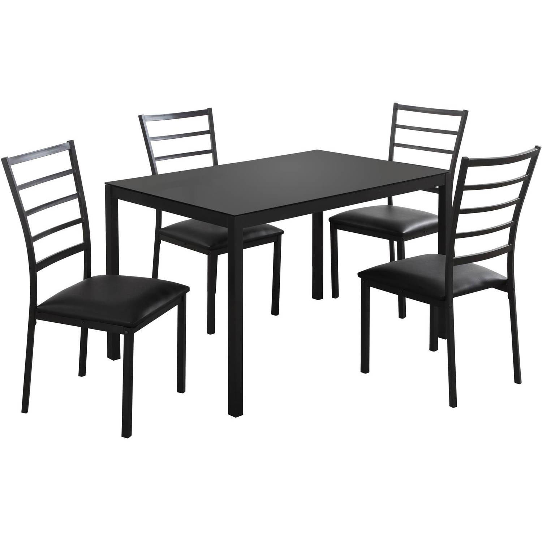 Monarch Dining Set 5Pcs Set / Black Metal /Black Tempered Glass