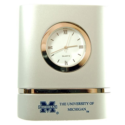 Michigan Wolverines Brushed Silver Desk Clock by LXG