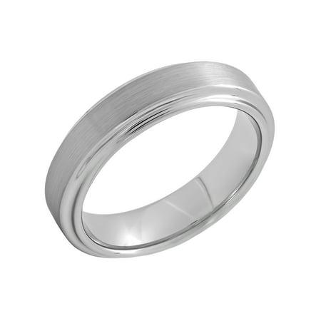 (Men's Titanium 6MM Satin and High Polish Step Edge Wedding Band – Mens Ring)