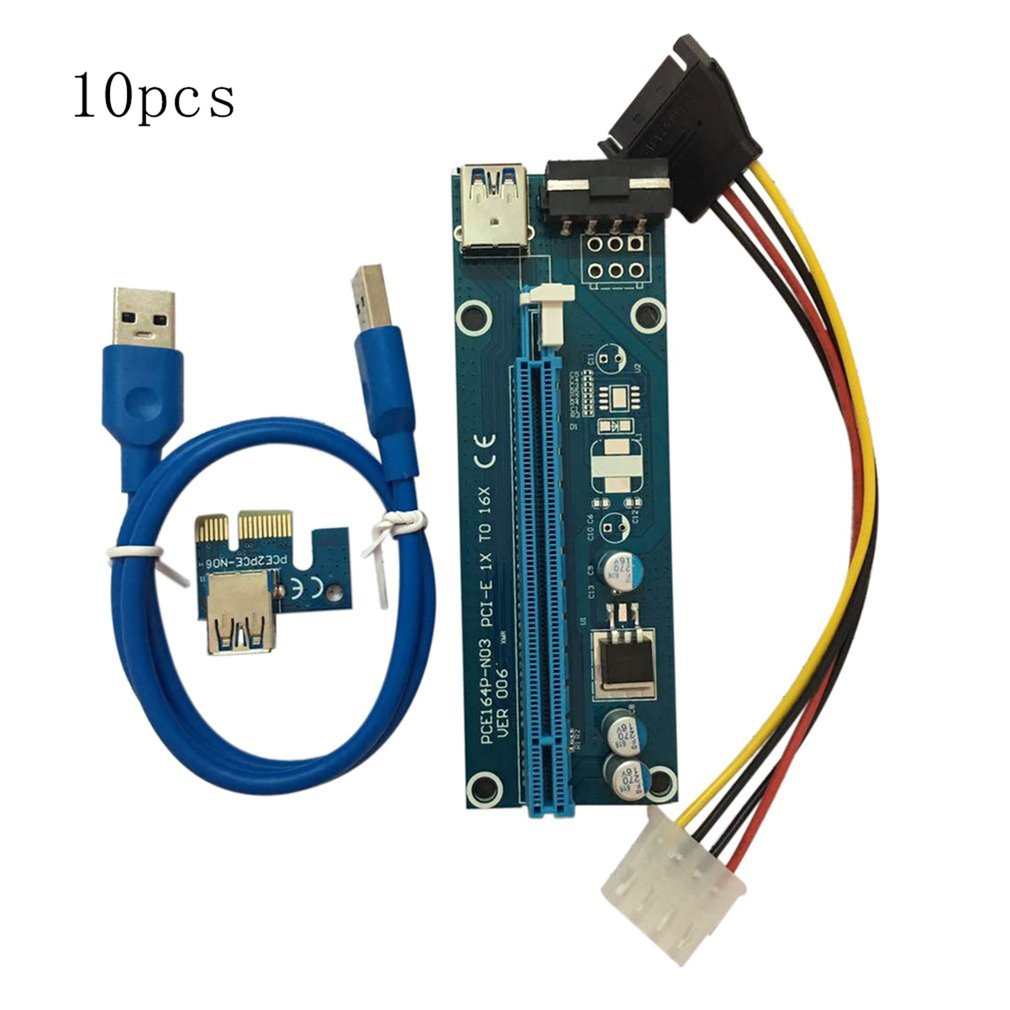 10PCS/SET PCI-E PCI Express 1X to 16X Riser Card USB 3.0 ...