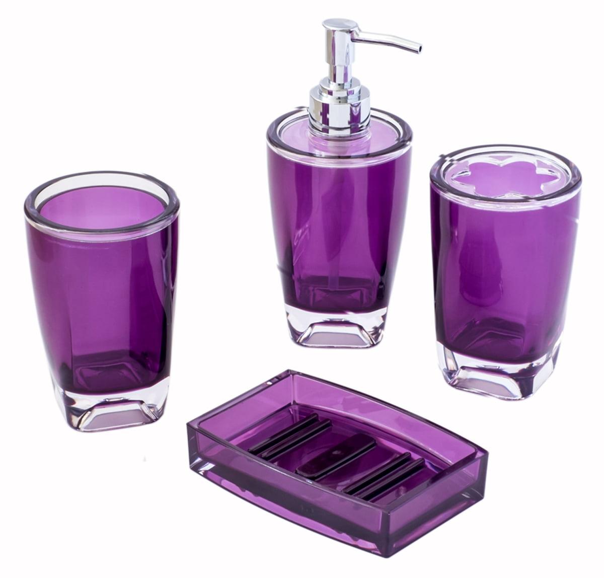 Justnile Decorative Essential Translucent Purple 4 Piece