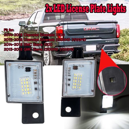 2pcs LED Number License Plate Tag Light For Chevy Silverado Colorado GMC Sierra ()