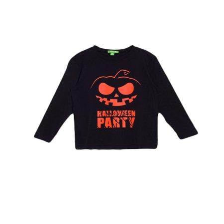 Boo Halloween Pumpkin (Bossini Boys Kids Easygoing Halloween Pumpkin Print Long Sleeve Tshirt Black US Size 3T -)