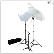 600W Watt Photography Lighting Kit with 2x White Shoot-Thru Umbrellas, 3x Light Stands, and Carry Bag by Loadstone Studio WMLS0421