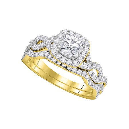 14kt Yellow Gold Womens Princess Diamond Twist Bridal Wedding Engagement Ring Band Set 1.00 Cttw - image 1 of 1