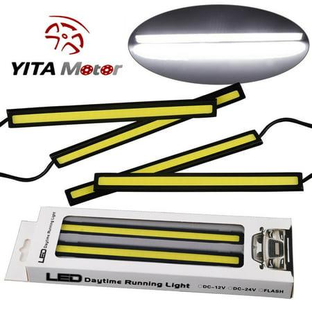 4PCS Waterproof Car COB LED 12V Lights High Power DRL Daytime Running Fog Driving White Lamp (Djl Lamp)