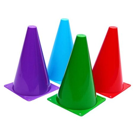 Dazzling Toys Assorted Colors Plastic Indoor/outdoor Flexible Traffic Cones - Pack of 6, 7 Inches.
