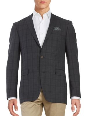 Plaid Two-Button Wool Suit Jacket