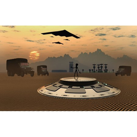 Alien Landings Are A Common Occurrence In The Infamous Area 51 Canvas Art   Mark Stevensonstocktrek Images  36 X 23
