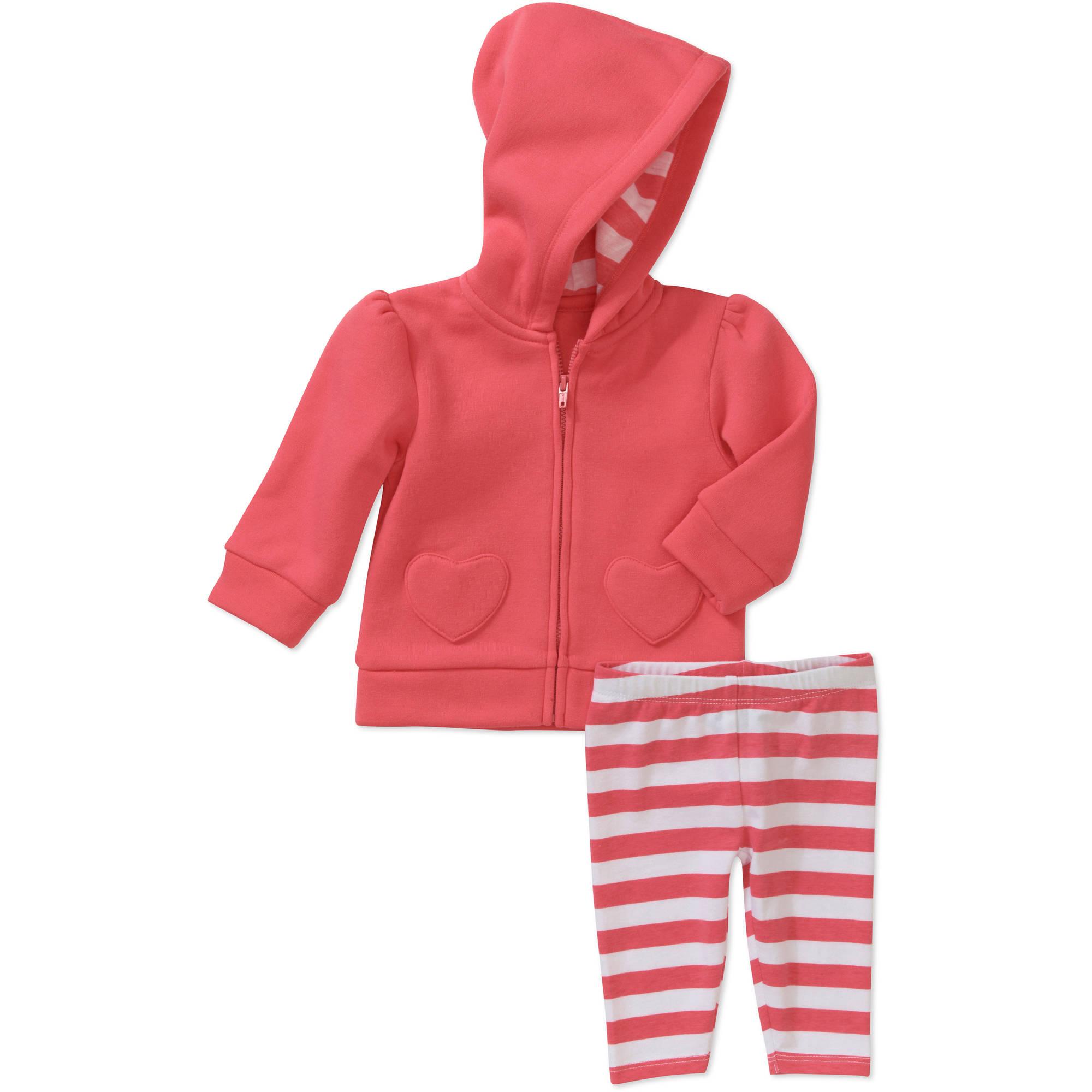 Faded Glory Newborn Girls' 2 Piece Heart Pocket Hoodie and Pant Set