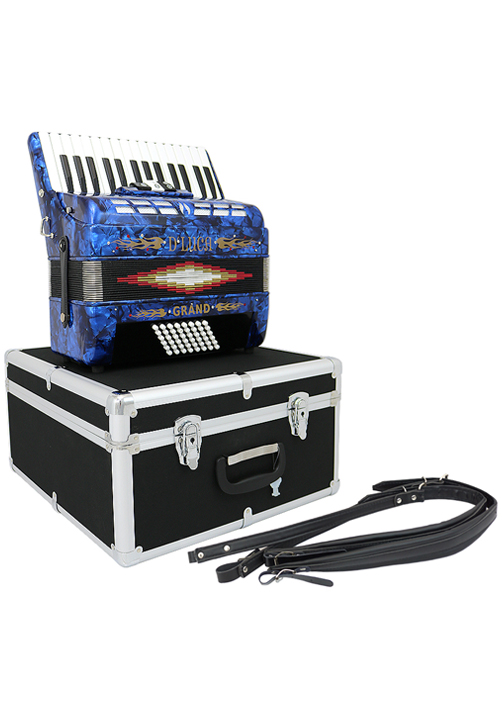 D'Luca Grand Piano Accordion 3 Switches 30 Keys 48 Bass with Case and Straps, Blue by D'Luca