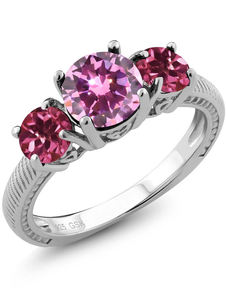2.28 Ct Round Pink Zirconia Pink Tourmaline 925 Sterling Silver 3 Stone Ring by