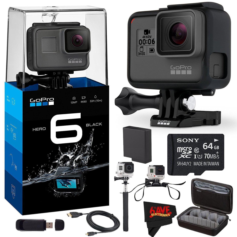 GoPro HERO6 Black + Sony 32GB Class 10 Micro SDHC Memory Card + Large GoPro Case + GoPro Helmet Strap Bundle