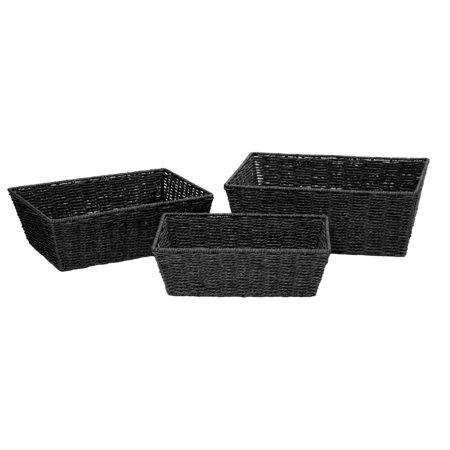Mainstays Tapered Rectangular Closed Weave Paper Rope Basket Set with Cut Out Handles, Set of 3, - Paper Basket Weaving