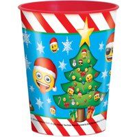 Emoji Christmas Plastic Cup, 16 oz, 1ct by Unique Industries