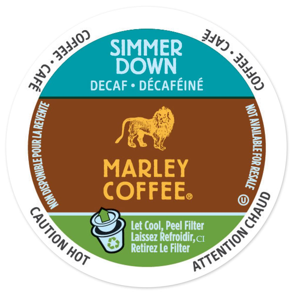 Marley Coffee Simmer Down Decaf, RealCup portion pack for Keurig K-Cup Brewers, 96 Count