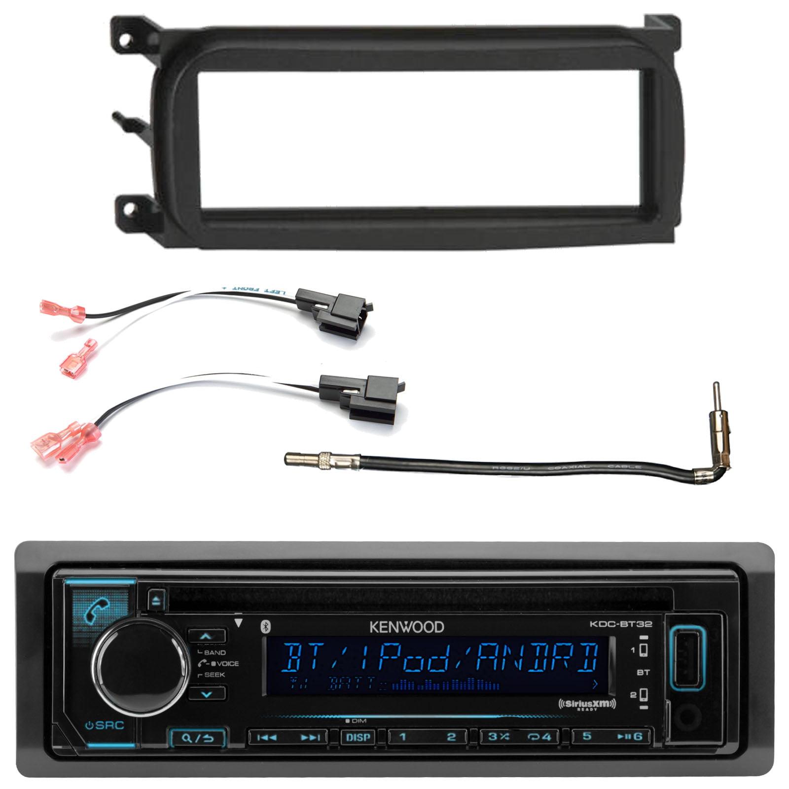 Kenwood In Dash Car Audio CD Bluetooth SiriusXM Ready Receiver, Enrock Single-DIN Dash Kit , Metra 2 Pin Rectangular Speaker Connector, Metra Antenna Adapter (Select 2001-2009 Vehicles)