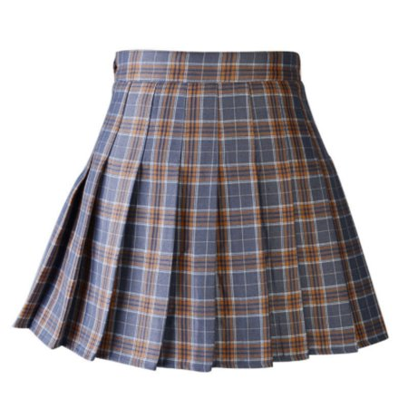 Women Plaid Pleated Skirt Dancewear Women High Waist Tartan Mini Skirt