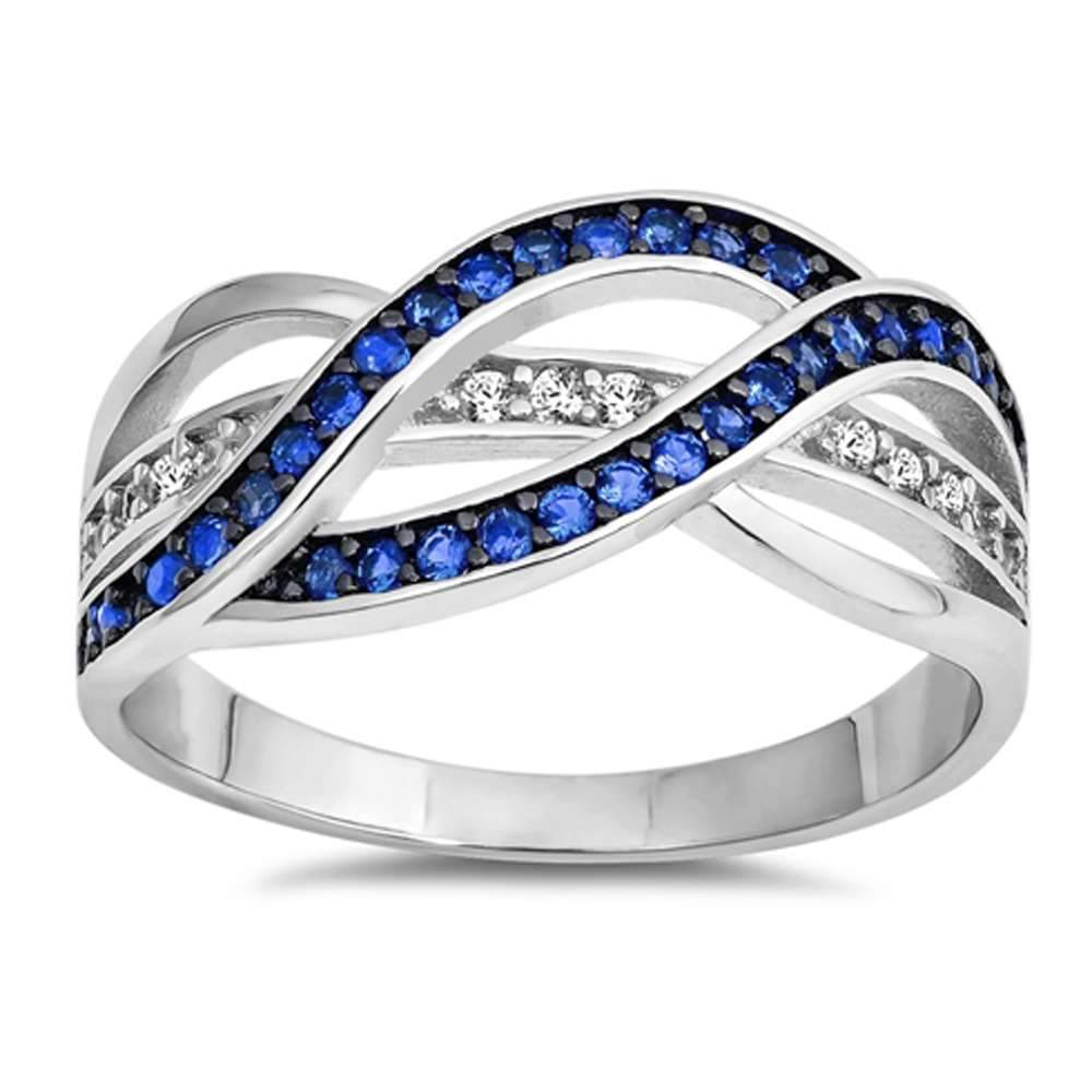 Sterling Silver Elegant Infinity Style Blue White Pave Set Ring