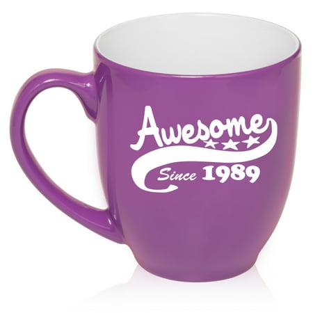 16 oz Large Bistro Mug Ceramic Coffee Tea Glass Cup Awesome Since 1989 30th Birthday (Purple)](30th Birthday Cups)