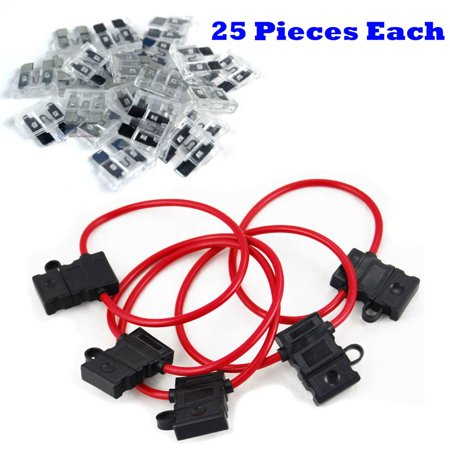 25 Pcs 10 Gauge In-Line ATC/ATO Fuse Holder & 25 Amp ATC Blade (Best Divided By 13 Amp)