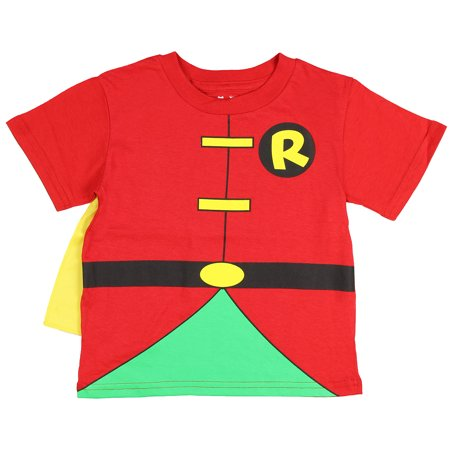 DC Comics Batman Robin Red Toddler Caped T-Shirt](Batman And Robin Baby Grow)